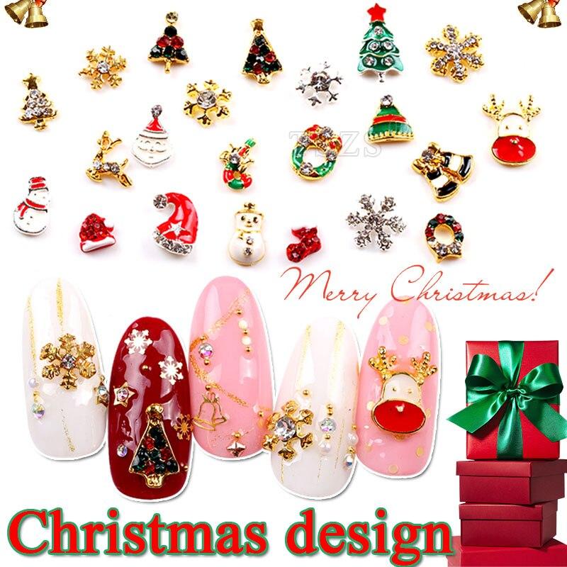 Zielsetzung 10 Teile/los Frohe Weihnachten Neue Design Schneeflocke Schneemann Weihnachten Baum Hut Nail Art Legierung Dekoration Strass & Dekorationen