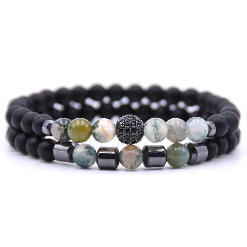 DIEZI 2 шт./лот пары отношения браслет из натурального камня коричневый черный бисером браслеты для мужчин женщин лучший друг подарок