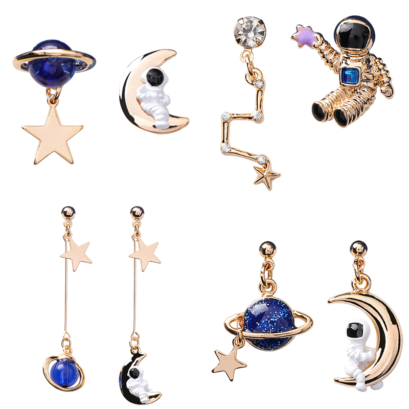 2019 Astronaut Crystal Blue Universe Star Moon Earrings Asymmetric Universe Planet Big Dipper Drop Earrings for Women Girl Gift