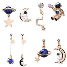 2019 Astronaut Crystal Blue Universe Star Moon Earrings Asymmetric Universe Planet Big Dipper Drop Earrings for Women Girl Gift