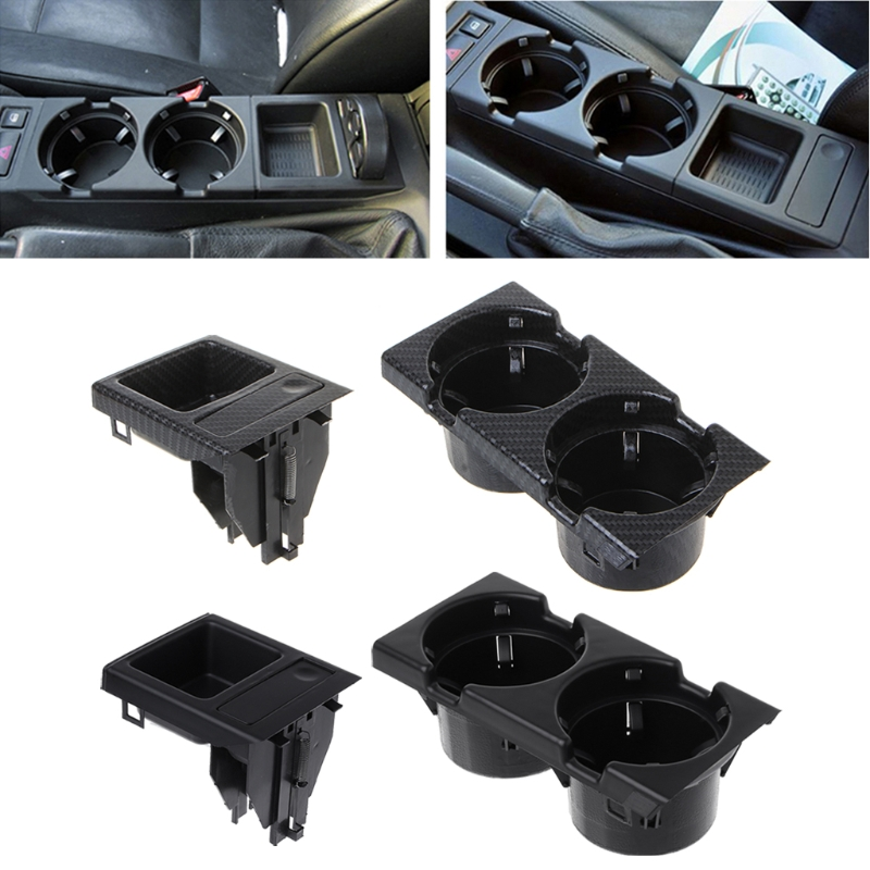Black Qiilu Car Interior Front Center Console Cup Holder Coin Holder for BMW E46 1998-2004
