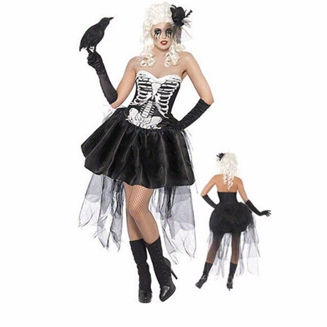 กะโหลกศีรษะผีดิบผีดิบเจ้าสาวฮาโลวีนเครื่องแต่งกายสำหรับคอสเพลย์ Skeleton Tutu ชุดหมวกถุงมือ