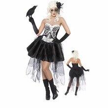 Schädel Zombie Ghost Braut Halloween Kostüm für Frauen Cosplay Skeleton Tutu Kleid mit Hut Handschuhe