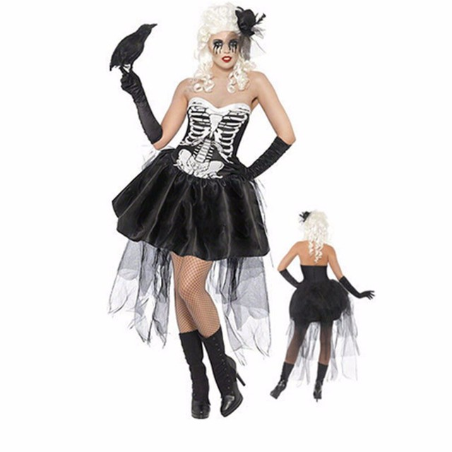 Skull Zombie Ghost Bride Halloween Costume for Women Cosplay Skeleton Tutu Dress with Hat Gloves