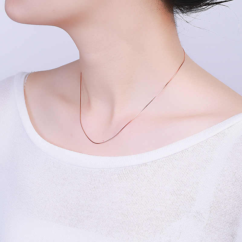 Wholesale Sterling Silver Necklace Women 925 Silver Long Snake Chain Gold Color 1mm Thinkness Silver Long Necklace Jewelry 925