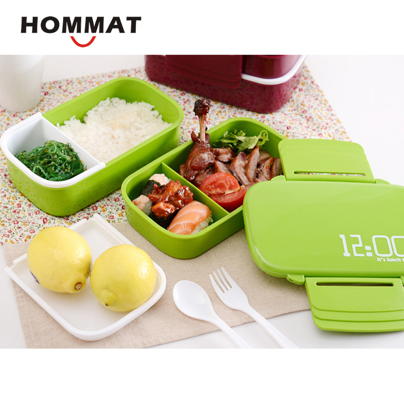 4acdcd885f78 US $15.6 25% OFF|12:00 It's Lunch Time Japan Style Double Tier Bento Box  Large Bento Meal Box Lunchbox Tableware Microwave Dinnerware Set-in Lunch  ...