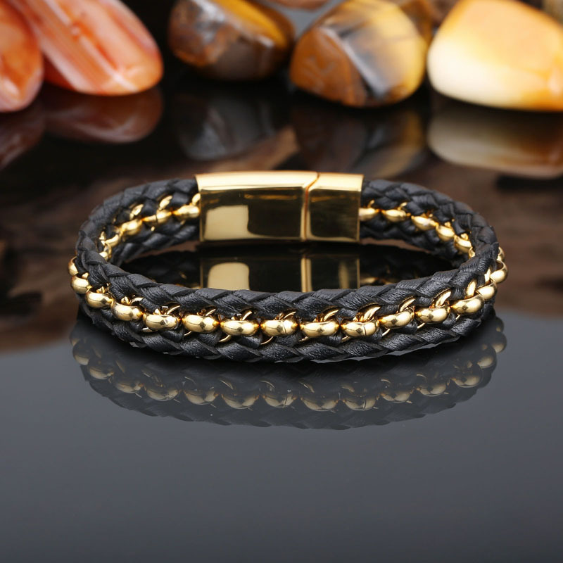Uwin New Hot Style Fashion Men S Simple Leather Braid Bracelet Stainless Steel Black Jewelry Whole Birthday Gift In Bangles From