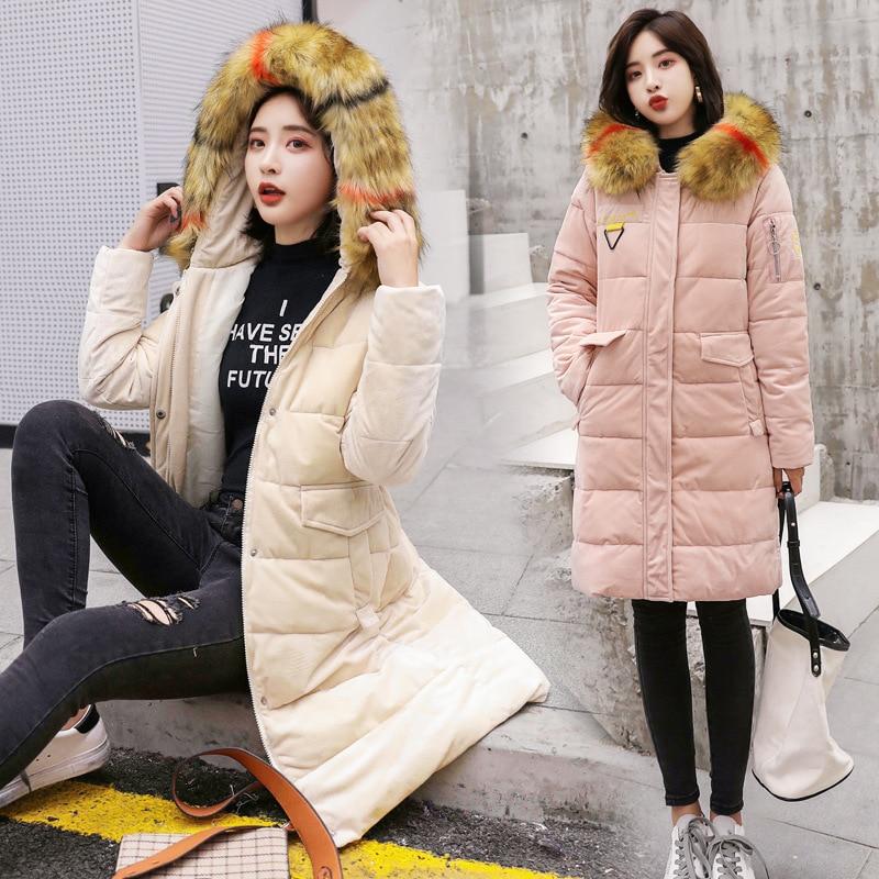 Mi black Manteau Parka pink Mode Automne Femmes caramel Hiver gray Capuche En 2019 De blue longue Col Survêtement À Nouveau Fourrure Beige Coton Veste Chaud Cw032 Cuir pXBq6xqwO