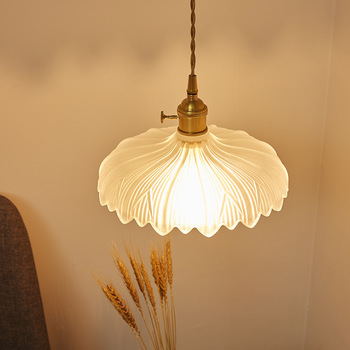 Japanischen Stil Messing Glas Anhänger Licht Nordic Kreative Minimalis Einzelne Kopf E27 Anhänger Lampe Für Restaurant Bar Balkon Café
