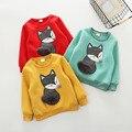 Moda Bebé Bebés Niño Niños Niños Niñas Zorro Estilo Largo Camisa De Algodón Con Capucha de la manga Camiseta de La Camiseta Tops Blusa de Lana para 2-6Y