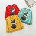 Moda Bebê Crianças Criança Crianças Meninos Meninas Estilo Fox Longo Moletom Com Capuz de Algodão de manga comprida Camisa T-shirt T Tops Blusa de Lã para 2-6A
