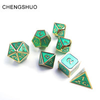 Chengshuo metal dice rpg dungeons and dragons dnd polyhedral number digital dices 7pcs transparent green set d20 10 6 8 4 games