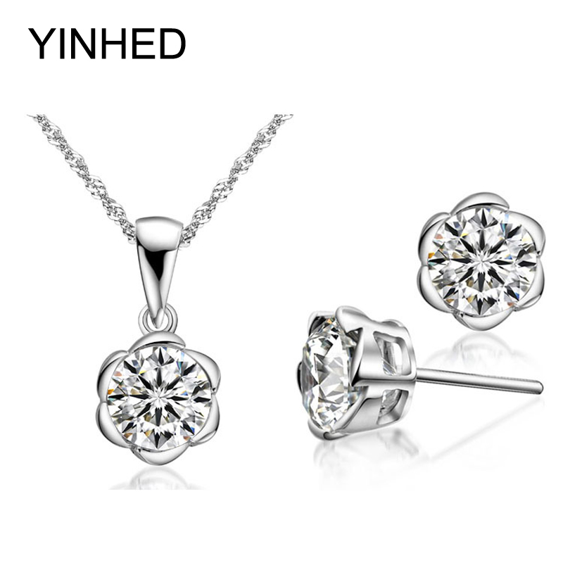YINHED 925 Sterling Silver Wedding Jewelry Sets 2ct Cubic Zirconia Flower Pendant Necklace & Stud Earrings Sets For Women ZS178