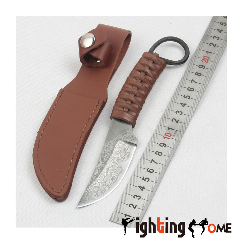 ФОТО Damascus Survival Knife 58HRC leather rope Handle Tactical EDC Hunting Knifes Camping Knives Outdoor Tools