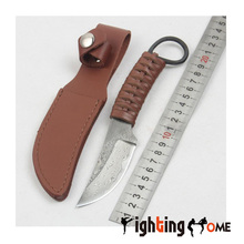 Damascus Survival Knife 58HRC leather rope Handle Tactical EDC Hunting Knifes Camping Knives Outdoor Tools
