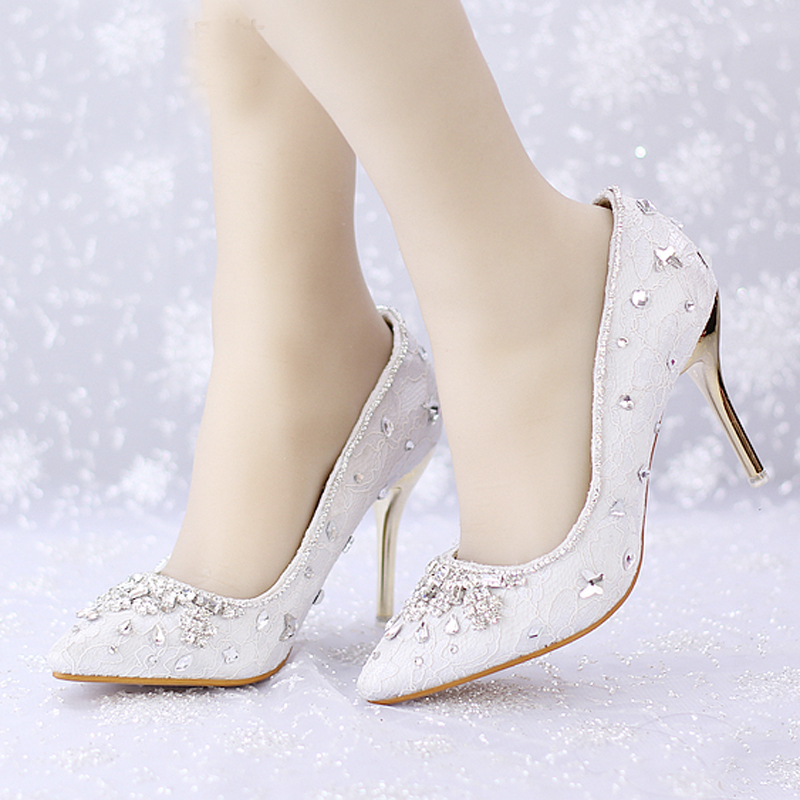 2016 High Heel Shoes Women Pointed Toe Party Prom Shoes Fashion White Lace Wedding Dress Shoes Sapato Feminino Crystal Pumps jxd rc mini drone with camera hd wifi live camera helicopter radio control tiny quadcopter headless mode remote contol toy