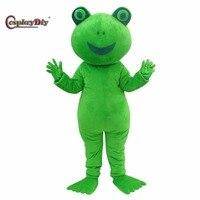 Cosplaydiy frog Mascot Costume Cartoon Character Plush Mascot Costumes for Christmas Adult Suit