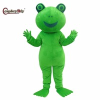Cosplaydiy frog Mascot Costume Cartoon Character Plush Mascot Costumes for Christmas Adult Suit