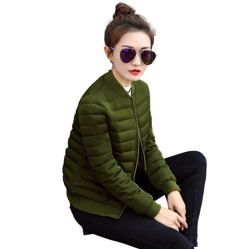 Winter New Female Casual Slim Thick Warm Cotton Down Jacket Ladies Basic Stand Collar Jacket Women