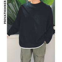 Privathinker Men Solid Sweater Mens Colorful O Neck Winter Pullover Sweater Male Korean Casual Black Sweater Coat Clothing 2018
