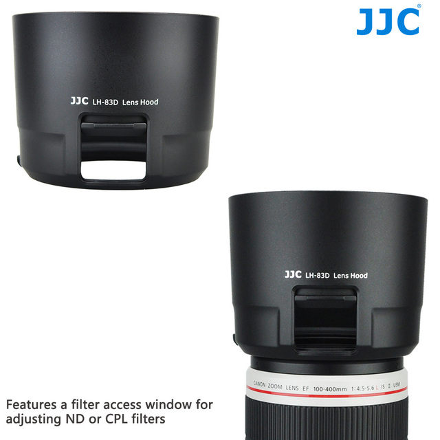 JJC LH-83D Black Camera Accessories Lens Hood With A Filter Access Window For CPL, ND filters Adjustment Replaces Canon ET-83D