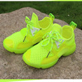 Children 's sports shoes autumn paragraph girls fluorescent color net shoes breathable children' s leisure running shoes