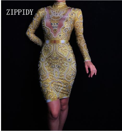 Shining Rhinestones Pearls Dress Long Sleeves Women s Gold Female Singer Clothes Birthday Celebrate Evening Wear