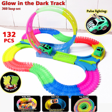 DIY Tracks Assembly Toy Slot 360 loop Glow race track Bend Flex Glow in the Dark with Led light Race Vehicle Educational toys