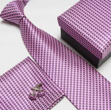 2017 men's fashion high quality grip neck tie set neckties cufflinks silk ties tower cuff links cravat pocket handkerchief 16