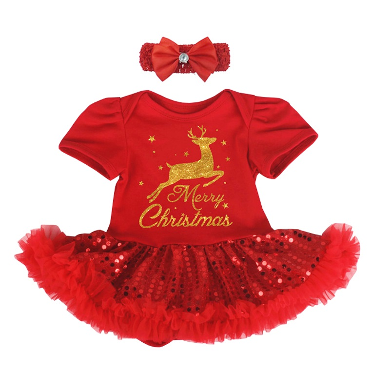 Merry Christmas Infant Bebe Dress Sequins Deer Red Tutu for Party Newborn Baby Girl Outfit Romper with Headband Toddler Clothing baby clothes christmas costume for baby infant party dress tutus newborn jumpsuit bebe romper baby girl clothing halloween gift
