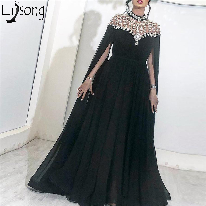 Sparkly Black Crystals Arabic Evening Dress 2019 High Neck Caped Long Chiffon Cheap African Dubai Celebrity Prom Party Gowns