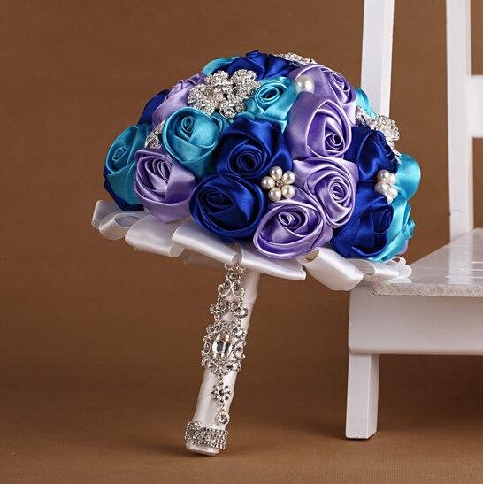 Mediterranean Style Pearl Rhinestone Wedding Bouquets Bridal Flower De Novia Mariage Artificial Bridesmaid Accessoires