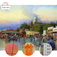 Golden Panno Needlework DIY DMC 14CT 11CT printed Cross stitch Embroidery kits happy people white canvas Counted 824
