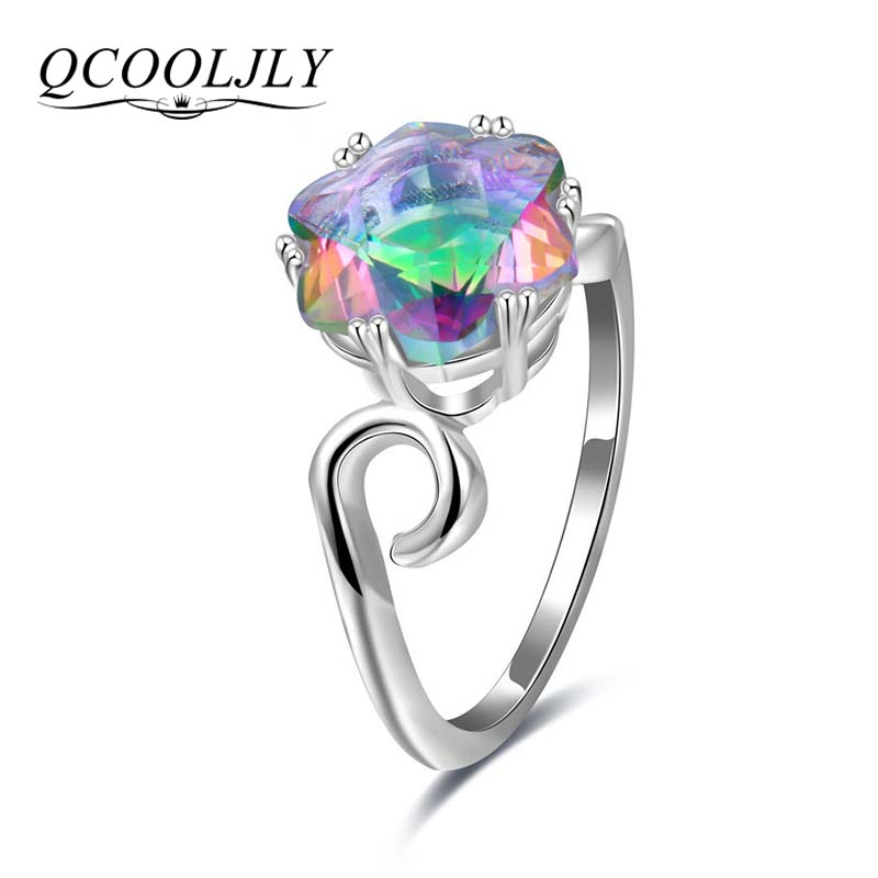 QCOOLJLY Charm Genuine Rainbow Fire Colorful Mystic Crystal Ring Solid Silver Jewelry Best Gift Rings For Women Fine Jewelry