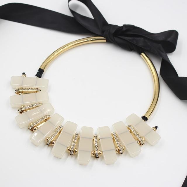 Joyería de boho 2015 la moda de joyería fina gargantilla de resina de largo la cuerda vintage Collar cadena mujeres collares colgantes declaración