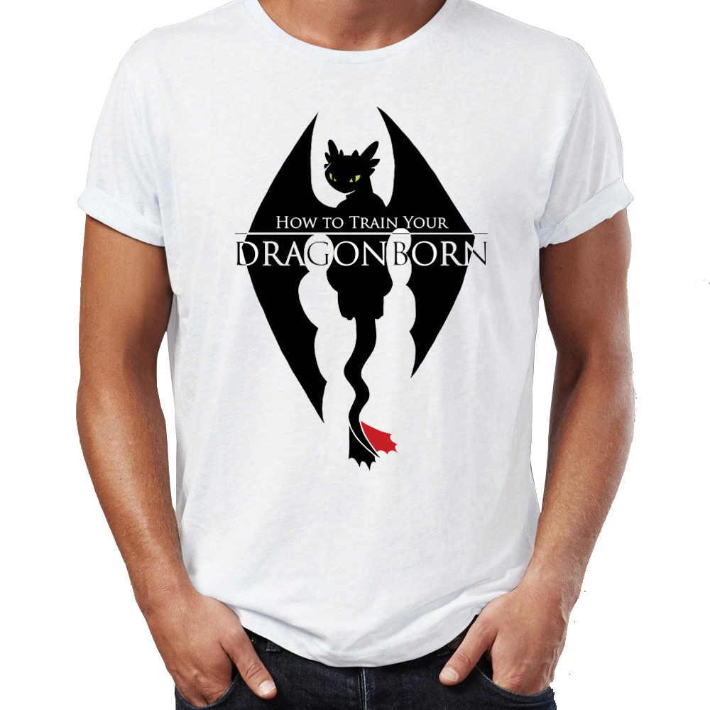 58727f63 Men's T Shirt Skyrim Dragonborn Toothless Dragon Funny Awesome Artwork  Printed Tee