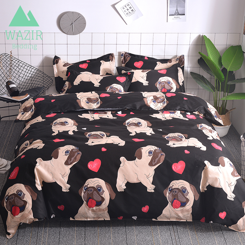WAZIR Cartoon Pug Bedding Set Bed Linen Duvet Cover Pillowcases Twin Full Queen King Size Comforter Bedding Sets Bedclothe Dog