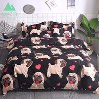 f6f39fcaf6 WAZIR Cartoon Pug Bedding Set Bed Linen Duvet Cover Pillowcases Twin Full  Queen King Size Comforter