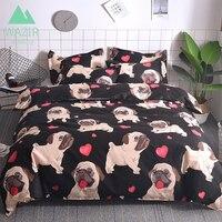f6f39fcaf6 WAZIR Cartoon Pug Bedding Set Bed Linen Duvet Cover Pillowcases Twin Full  Queen King Size Comforter