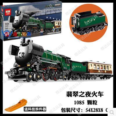 LEPIN 21005 Creator series the Emerald Night model building blocks set Classic compatible Steam trains Toys Christmas Gift 10194 lepin 22001 pirate ship imperial warships model building block briks toys gift 1717pcs compatible legoed 10210