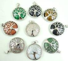 Pingente de pedra natural de quartzo, olho de tigre de cristal e turquesa, para fazer jóias diy, acessório para colar, 10pçs