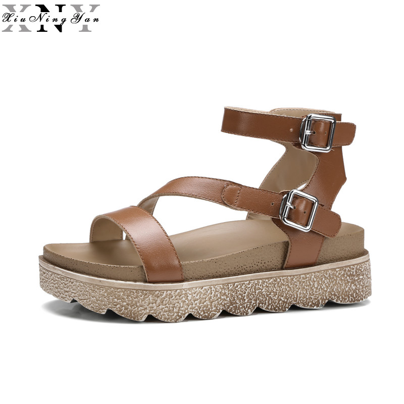 New Summer Shoes Woman Platform Sandals Women Soft Genuine Leather Casual Open Toe Gladiator Wedges Mujer Women Shoes Flats 1/15 2017 gladiator summer shoes woman platform sandals women flats soft leather casual open toe wedges sandals women shoes r18