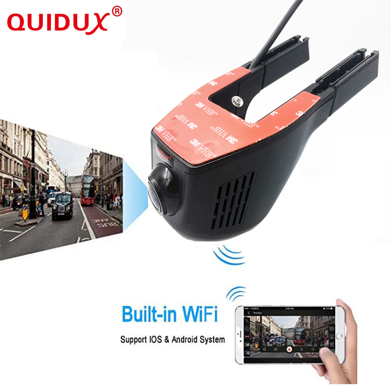 QUIDUX Full HD 1080P Car DVR Built-in WiFi 160 Degree Wide Angle Dashboard Camera,Vehicle Dash Cam with G-Sensor,Loop Recording g50 full hd 1080p 5 0mp 170 coms g sensor loop recording car dvr camcorder blcak sliver