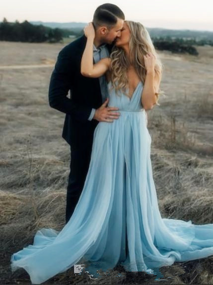 2019 Elegant Light Sky Blue   Prom     Dresses   Sheer Neck Cap Sleeves Appliqued Chiffon Floor Length Formal   Dresses   Modest Evening