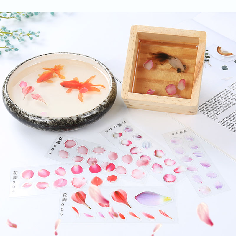 5pcs Creative 3D Simulation Fish Petal  Phone Case Decorative Sticker Fit DIY Epoxy Molds Micro Landscape Scrapbooking Stickers