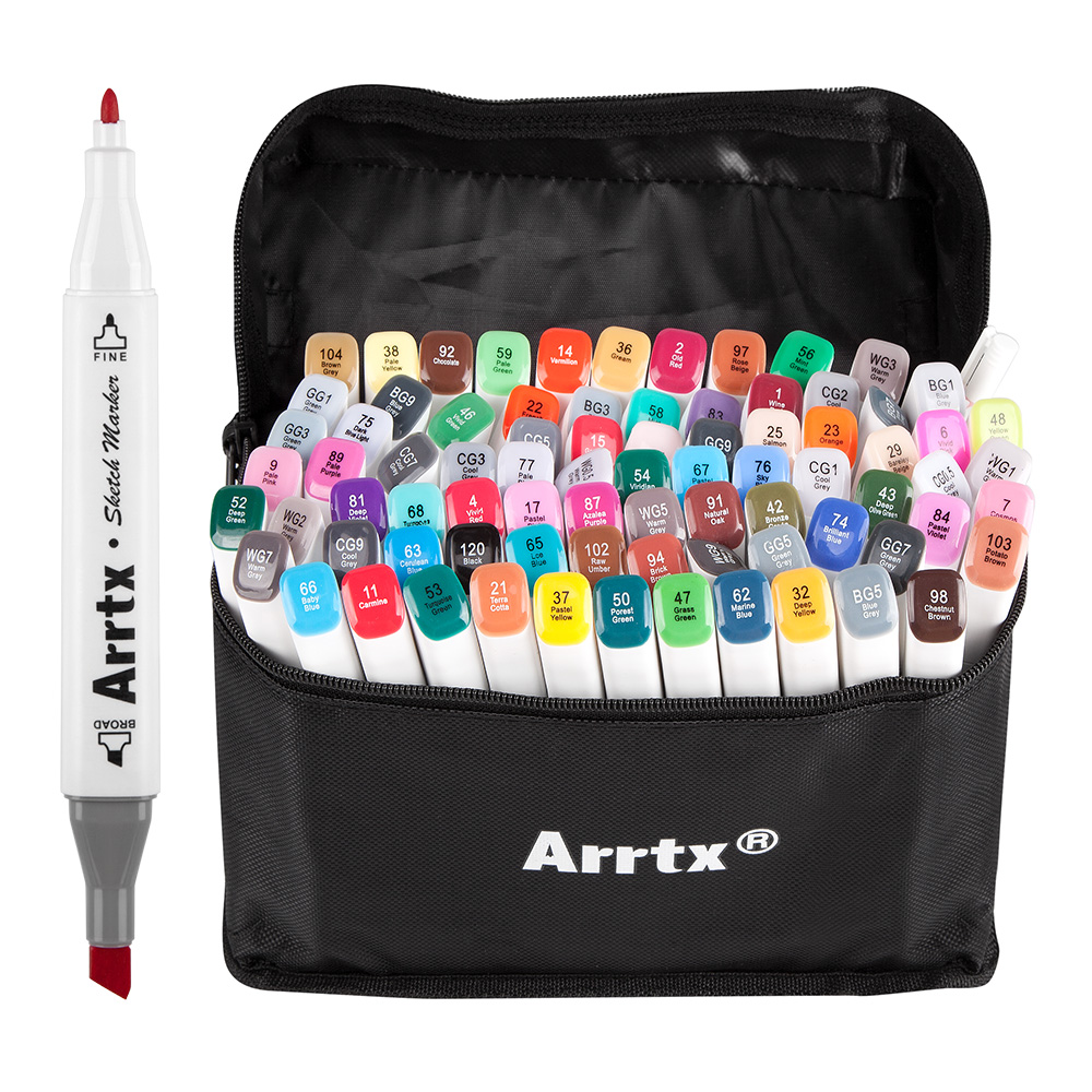 Arrtx Alcool Marqueurs 80 Couleurs Double Pointe marqueurs + trousse à crayons parfait pour Graphique Dessin Croquis Peinture Projet de Conception