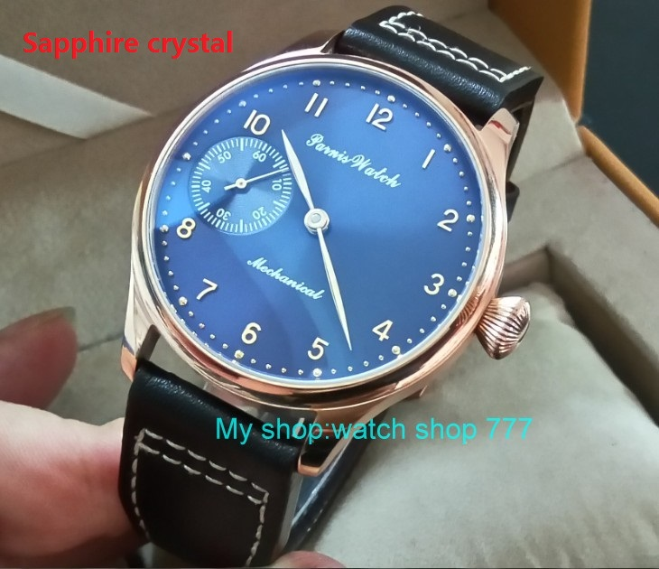 Sapphire crystal 44mm PARNIS blue dial 17 jewels Asian 6497/3600 Mechanical Hand Wind movement men's watch Rose gold case 393A sapphire crystal 2017 new fashion 44mm parnis asian 6497 3600 mechanical hand wind movement men s watch 6a