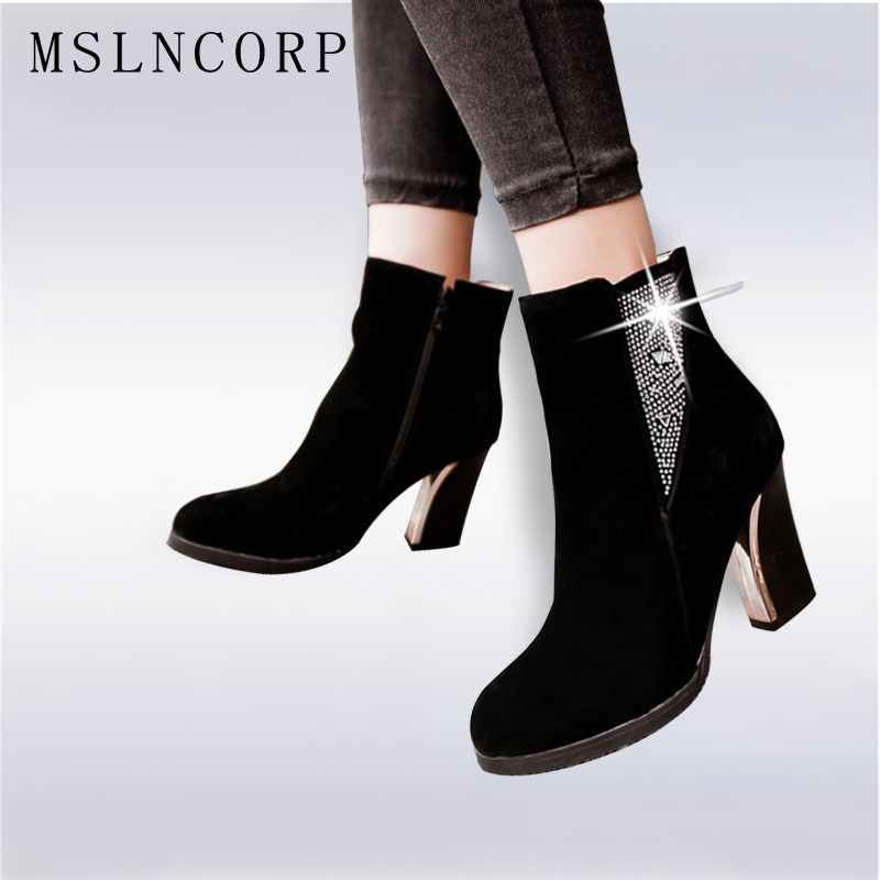 Plus size 34-43 Women Crystal Ankle Boot Square High Heels Short Boots Autumn Winter Snow Boots Dress Pumps Party Wedding Shoes