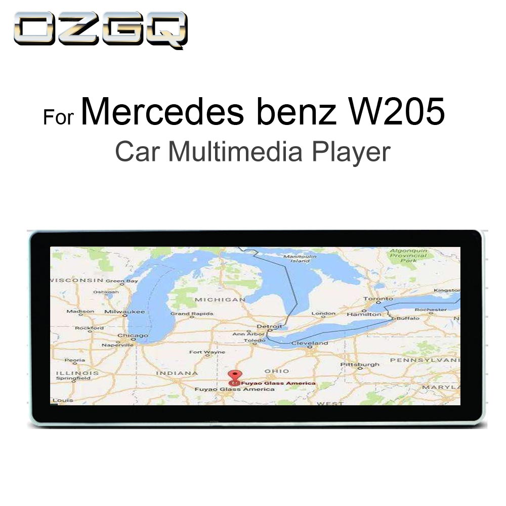 OZGQ 10.25 inch Android Car Multimedia GPS Autoradio Navigation For 2015 2018 Mercedes benz C Class W205 With Bluetooth