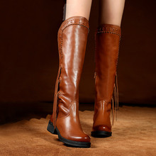 2016 Women's Boots Autumn and Winter Full Genuine Leather Side Zipper Boots Fashion Round Toe Boot